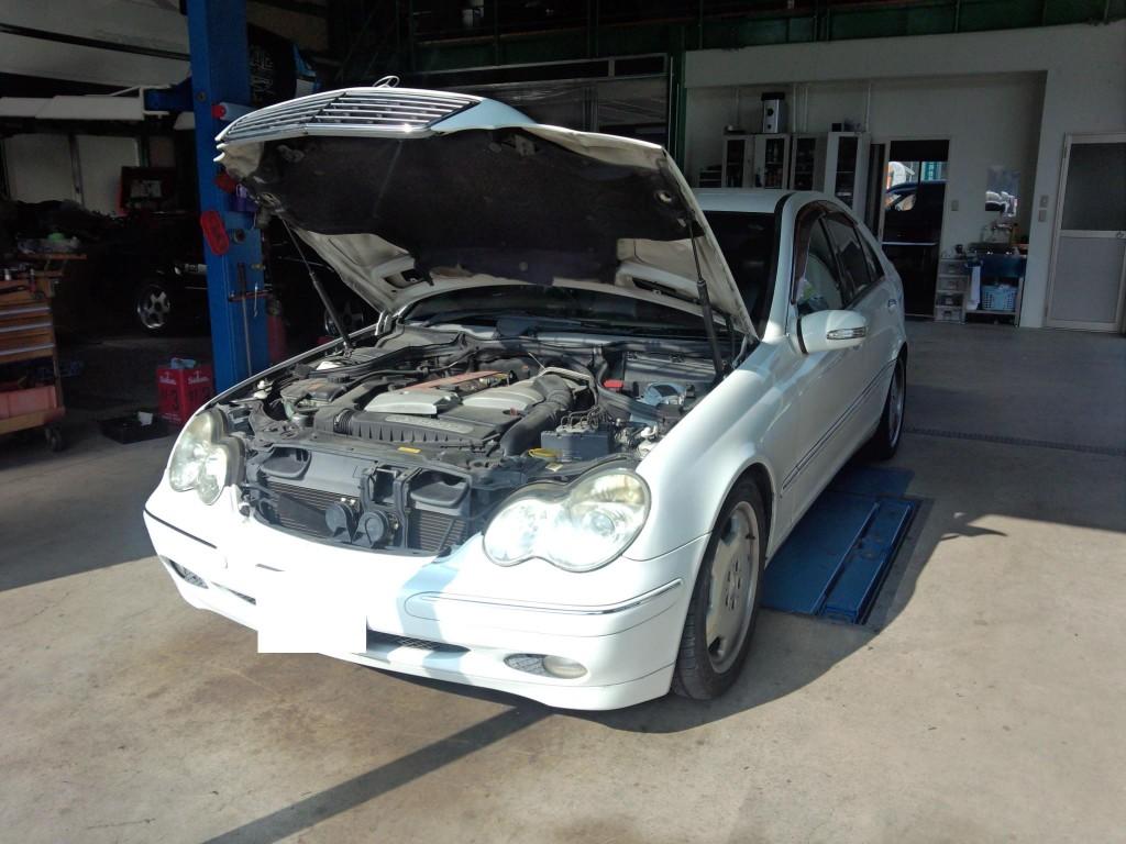 ベンツ W203ヘッドライト点灯しない修理 W221車検などなど             ベンツ修理 豊田市 藤井自動車