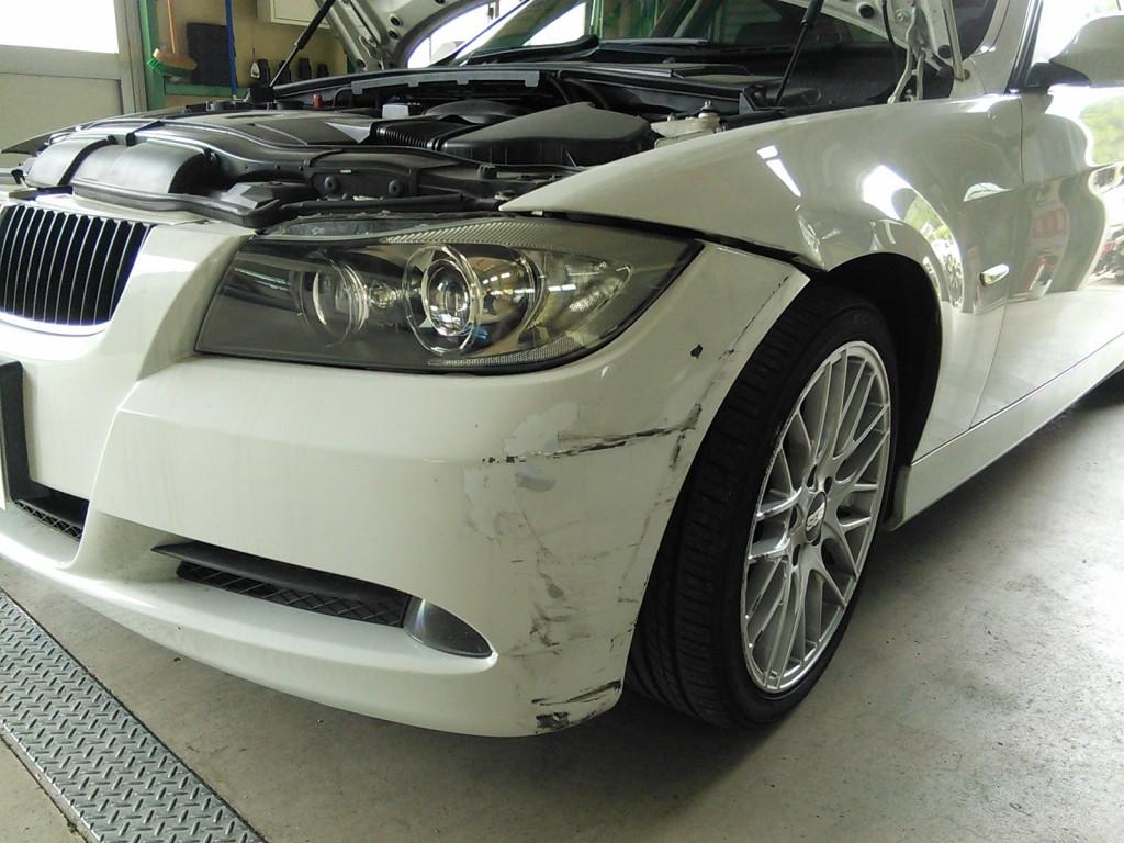 BMW E90  フェンダー バンパー修理   豊田市  外車 板金塗装