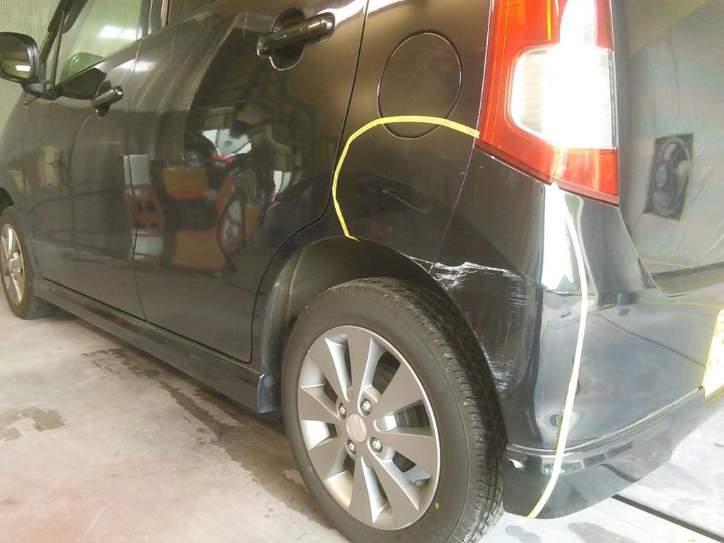 ワゴンR  バンパー修理 クオーター へこみ傷  ついでにゴルフクラブ塗装    豊田市  板金塗装