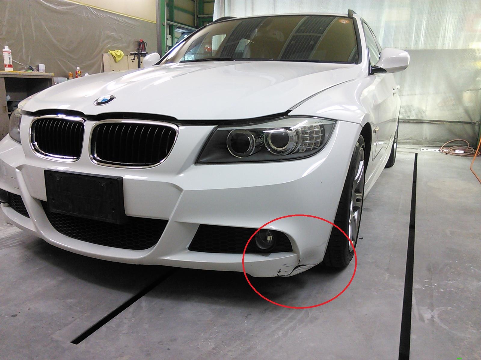 BMW フロントバンパー へこみ修理   豊田市  板金塗装
