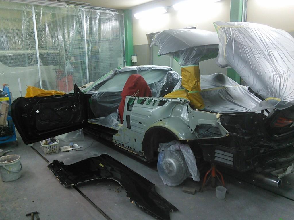 BMW 528 ガラス交換 ルーフ塗装   豊田市  板金塗装