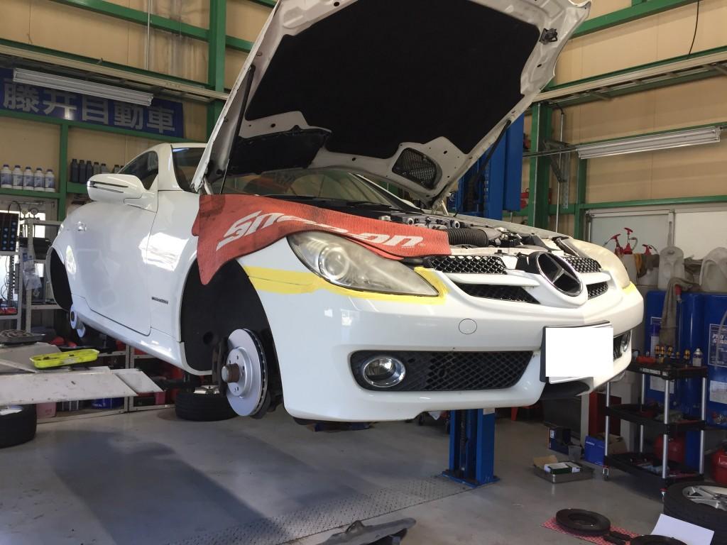 ベンツSLK バンパー修理 ついでに ヘッドライト復活  豊田市  板金塗装